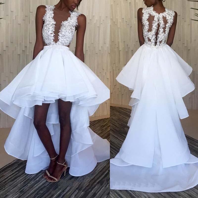 White Long Vestido De Novia Plunging Deep V Neck Sexy Slits Back High Front Low Back Tiered Organza Cheap Mother Of Bride Dress