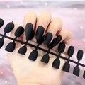 Матовые черные накладные ногти с коротким покрытием, с клеем, стикер, искусственные ногти, Черные накладные ногти
