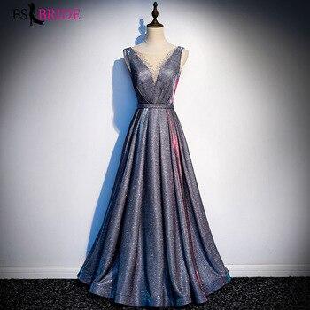 Evening Dresses 2019 V-neck Sleeveless Backless Sexy Prom Gowns Shiny Sequins Vestido De Festa