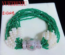 8row Bola Mikro Inlay Zirkon Gesper 4 MM Green Jade Batu Pearl Multi Baris Gelang 8 Inch(China)