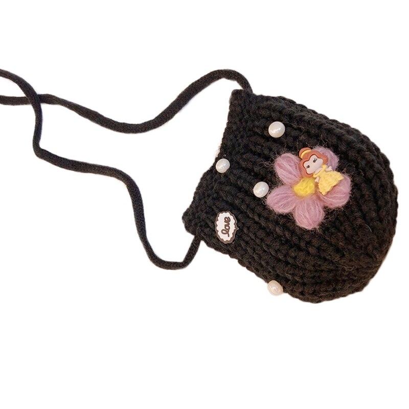 Детская сумка для девочек с милым мультяшным жемчугом, Вязаная Детская сумка через плечо, сумки через плечо, сумка-мессенджер - Цвет: B