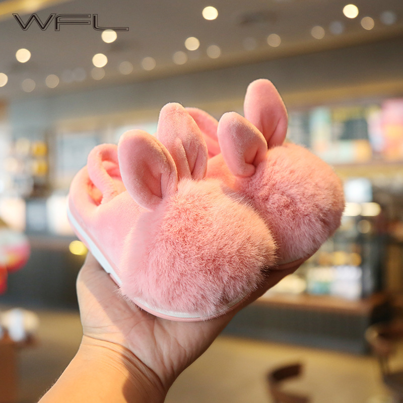 WFL Kids Winter Slippers For Girls And Boys Non-slip Children 1-3 Years Old Children's Cotton Shoes Cute Indoor Baby Slippers