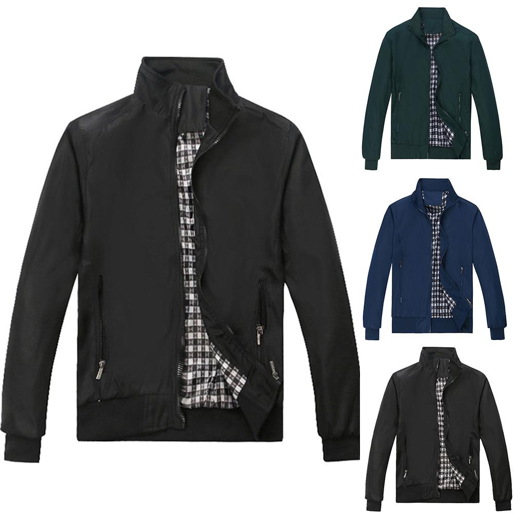 Autumn Winter Fashion Stand Collar Jacket Men Sliming And Fit Zipper Long Sleeve Coat