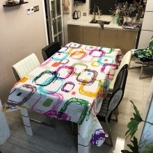 Decoration Wedding Desk Cloth Covers Rectangle Tablecloth Oil-proof Romantic Simple Geometric Print Outdoor Mat Tablecloth Cover