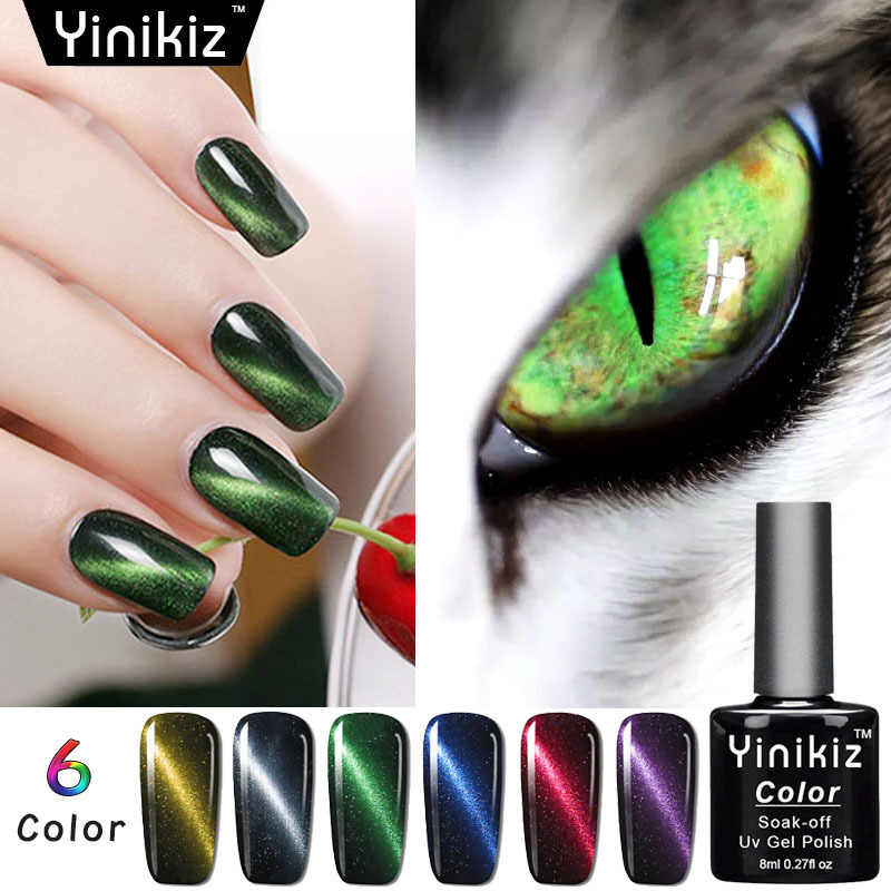 Fashion Magic 5D Cat Eye Uv Gel Polandia Manikur Semi Permanen Pernis UV LED Gel Varnish Rendam Off DIY Kuku seni Gel Cat Kuku