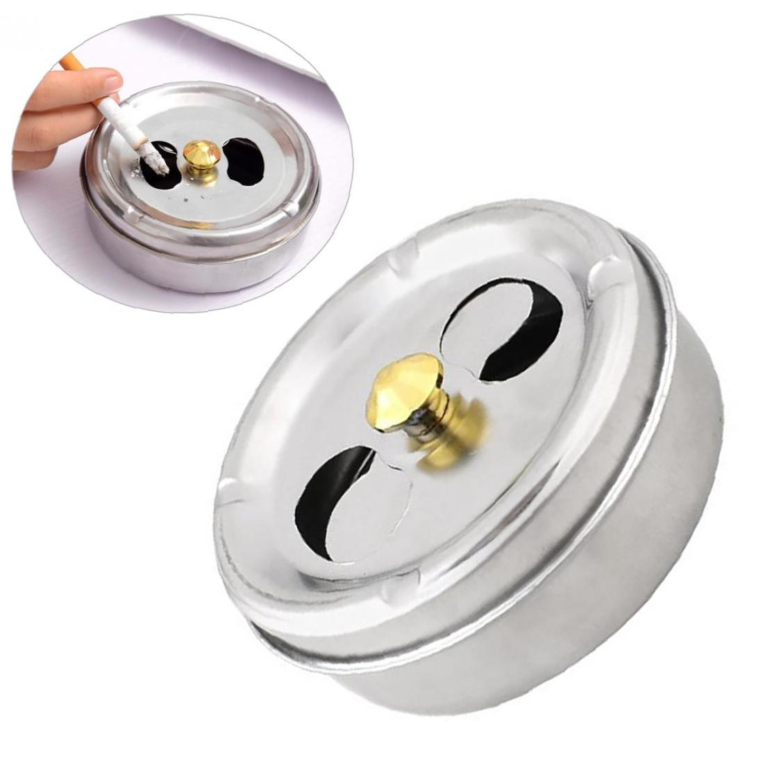 Round Spinning Ashtray Stainless Steel Ashtray With Lid Rotatable Ashtray Fully Enclosed Ashtray For Home Office Silver
