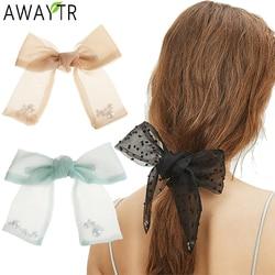 AWAYTR Fashion Pearl Spring Hair Clip Ties Women Barrettes Bow Gauze Hairpin Headdress Horsetail Clips Girls Hair Accessories