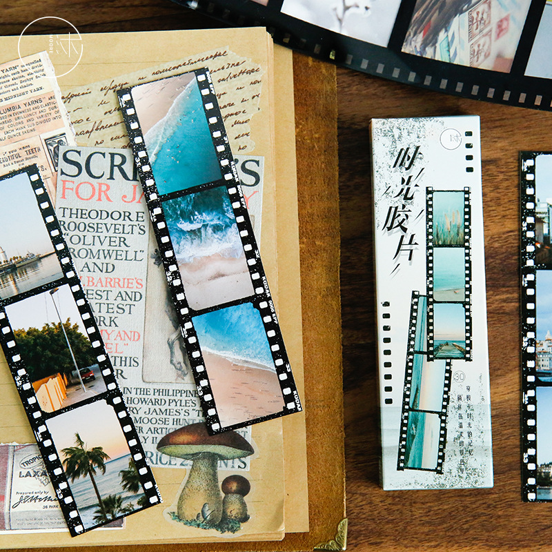 30 Pcs/lot Retro Time Film Paper Bookmark Stationery Bookmarks Book Holder Message Card School Supplies Papelaria