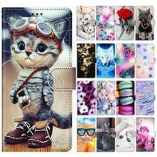 Para samsung a42 caso da aleta para etui samsung galaxy a42 5g a 42 caso bonito gato do cão tigre rosa carteira de couro magnético telefone capa