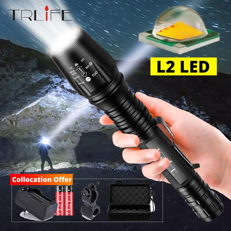 Portable L2 T6 LED Tactical Flashlight Adjustable Rechargeable Torch Light Zoomable Focus Flash Lamp 18650 Battery Bike Light