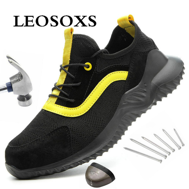 LEOSOXS Men Safety Shoes Boots Breathable Work Shoes Steel Toe Anti-smashing Lightweight Breathable New Sneakers Free Shipping
