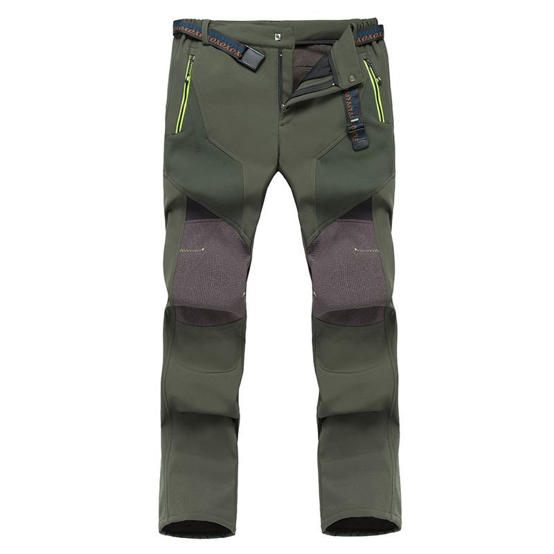 Hiking Pants Men Outdoor Waterproof Pants Camping Fishing Trekking Pants Windproof Fleece Softshell Skiing And Snowboard Pants