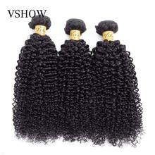 VSHOW モンゴル変態カーリー人間の髪織り 3 バンドル情報天然色ミドル比レミーヘア織りエクステンション