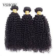 VSHOW Mongolian Kinky Curly Hair Human Hair Weave 3 Bundles Deals Natural Color Middle Ratio Remy Hair Weave Extensions