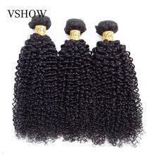 Vshow mongol kinky encaracolado cabelo humano tecer 3 pacotes ofertas cor natural médio relação remy tecer extensões de cabelo