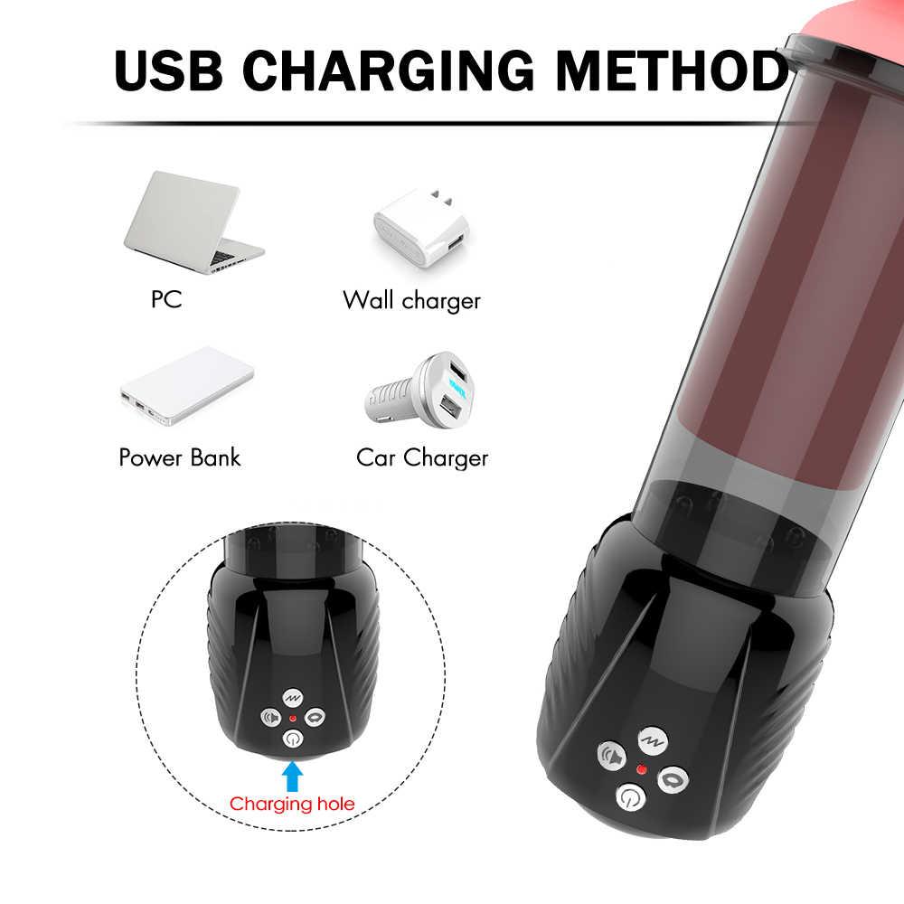 Listrik Pompa Penis Pompa Vakum untuk Penis USB Isi Ulang Otomatis Pembesaran Penis Mainan Seks Nyata Vagina Pria Masturbasi