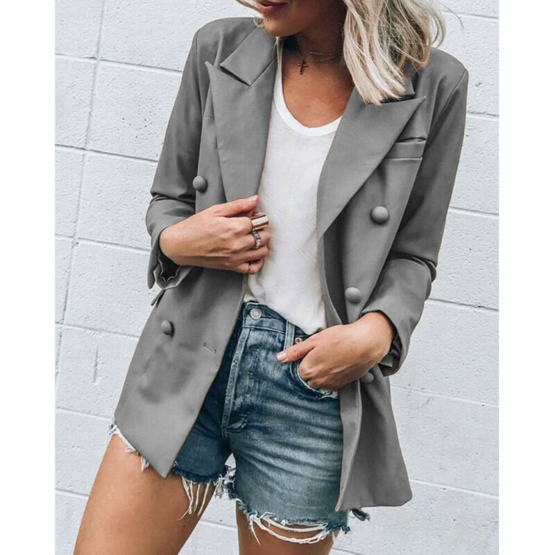 Women Blazer Slim Jacket Top Outwear Long Sleeve Career Formal Coat Casual Office Lady Tops Double Breasted Ladies Blazers
