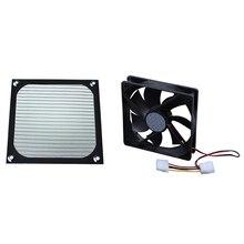 HOT-1Pcs 12 см x 12 см вентилятор охлаждения для ПК алюминиевый пылезащитный сетчатый фильтр черный и 1 шт. 120 мм x 25 мм DC 24 В 4Pin рукав подшипник компьютера
