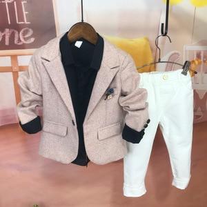 Boys Fashion Blazer Suit Jacket Flower Boys Clothes Kids Boys Piano Performance Clothes Casual Children's Suits Gentleman Sets