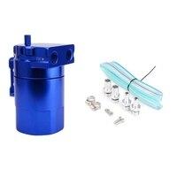 Universal Aluminum Car Engine Oil Catch Can Tank Polish Baffled Reservoir 300Ml-Blue