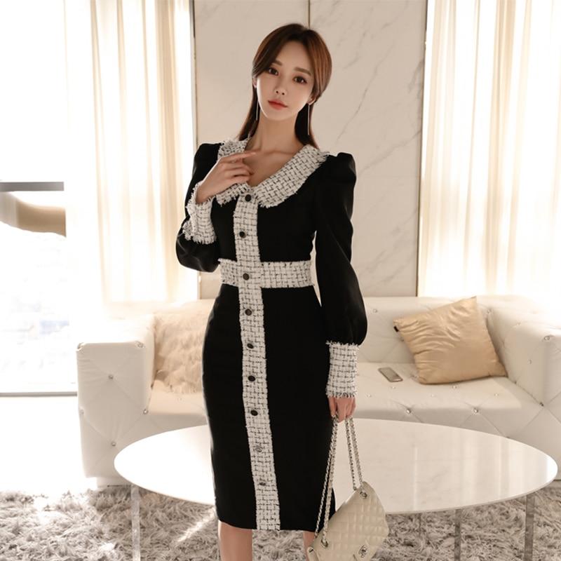 Elegant Bodycon Dress Women Autumn Winter Vintage Office Ladies Vestidos|Dresses| - AliExpress