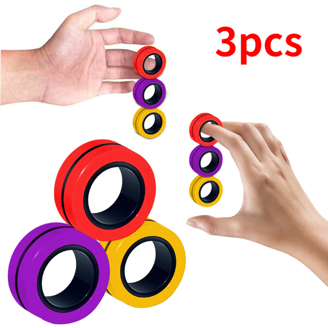 3pcs Anti-stress Magnetic Rings Magnetic Bracelet Ring Unzip Toy Magic Ring Props Tools Decompression Toys Finger Rings Toy 1