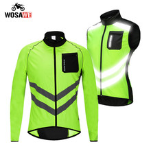 WOSAWE Motorcycle Mens High visibility Windbreakers Waterproof Light Weight Safety Motocross Jacket Mountain Bike Cycling Vest