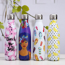 Artist Water Bottle Design Stainless Steel Thermos Flask Insulated Cold Heat Cup Bike Sport Drink Shaker Beer Mug