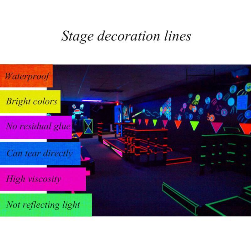 UV Black Light Reactive Fluorescent Cloth Tape Glow In The Dark Neon Gaffer Tape Liminous Tape Home Bar Decror