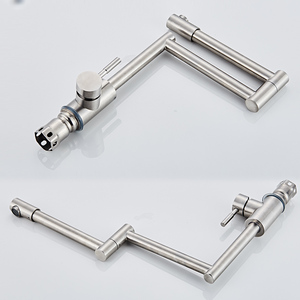 Image 5 - BAKALA 304 Stainless Steel Lead free Folding Kitchen Faucet Mixer 360 Degree Swivel Single Handle Nickel Kitchen Sink basin Taps