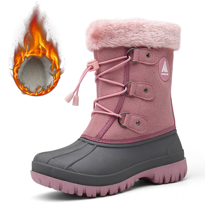 Winter Girls Boots Warm Plush Kids Boots Outdoor Snow Boots Children Cotton Shoes Boys Sneakers Mid-Calf Boots Tenis Infantil