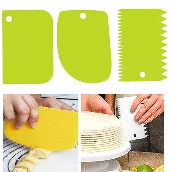 3PCS/Lot Dough Cake Cutter Slicer Spatula for Cake Cream Scraper Pasty Cutters Scraper Irregular Teeth Edge DIY Smoother