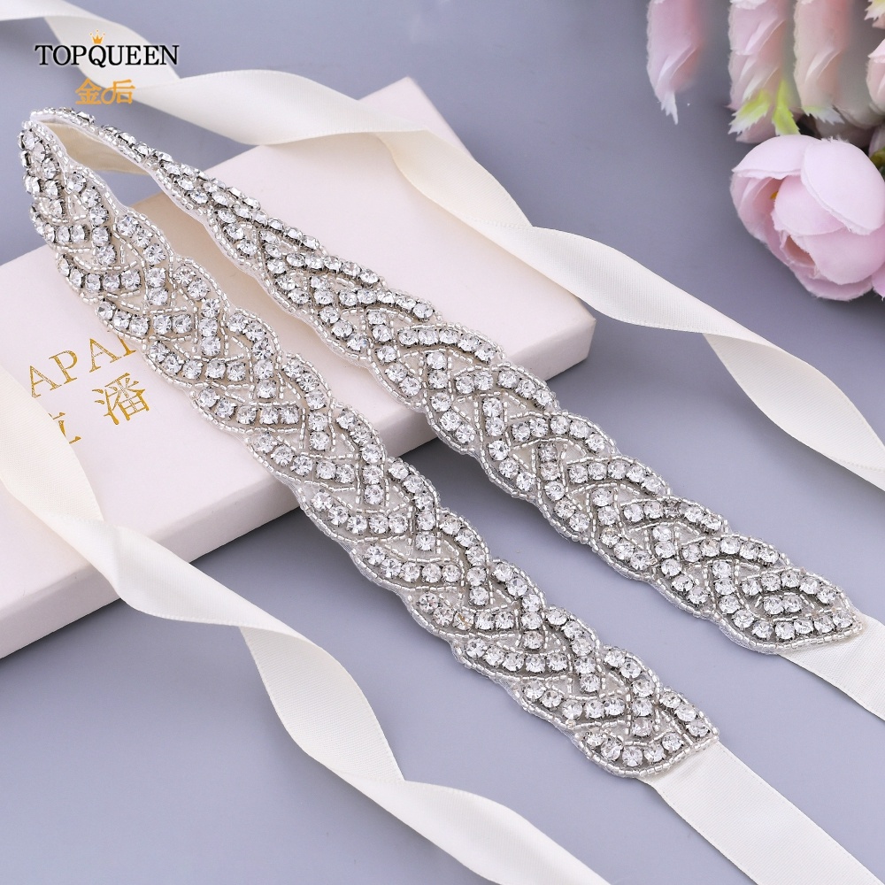 TOPQUEEN S216 Luxury Rhinestones Evening Party Gown Dresses Accessories Wedding Belt Sashes,Bride Waistband Bridal Sashes Belts