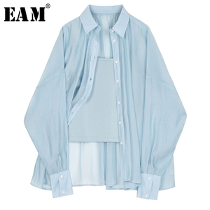 [EAM] Women Blue Brief Thin Big Size Blouse New Lapel Long Sleeve Loose Fit Shirt Fashion Tide Spring Summer 2020 1U753