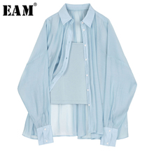 [EAM] Women Blue Brief Thin Big Size Blouse New Lapel Long Sleeve Loose Fit Shirt