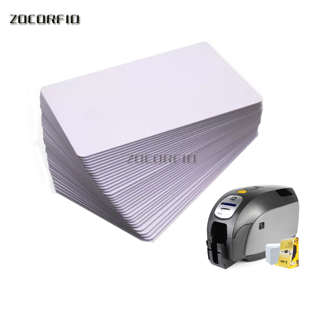 100pcs/lot Premium Blank PVC Cards For ID Badge Printers Graphic Quality White Plastic CR80 For Fargo Magicard Printers
