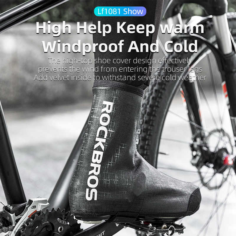 ROCKBROS Cycling Shoe Covers Winter Shoes Cover Warmer Water Resistant Thermal Bike Shoes Cover Windproof Bicycle Overshoes Shoescover for Men Women