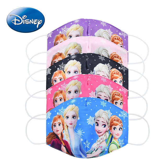 Disney Frozen Cartoon Anti-haze Mouth Face Mask Children Reusable Washable Dust-proof Protection Kids cosplay Masks Girls Gifts 3