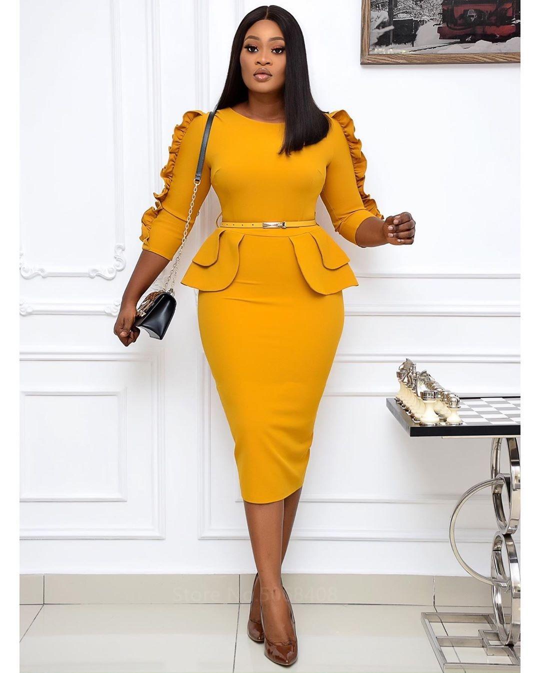 New Elastic Sheath Bodycon Slim Ruffles Elegant Work Dress