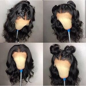 Image 3 - ブラジル実体波レースフロント人毛ウィッグ女性のための自然な黒の漂白事前摘み取らで漂白ノット