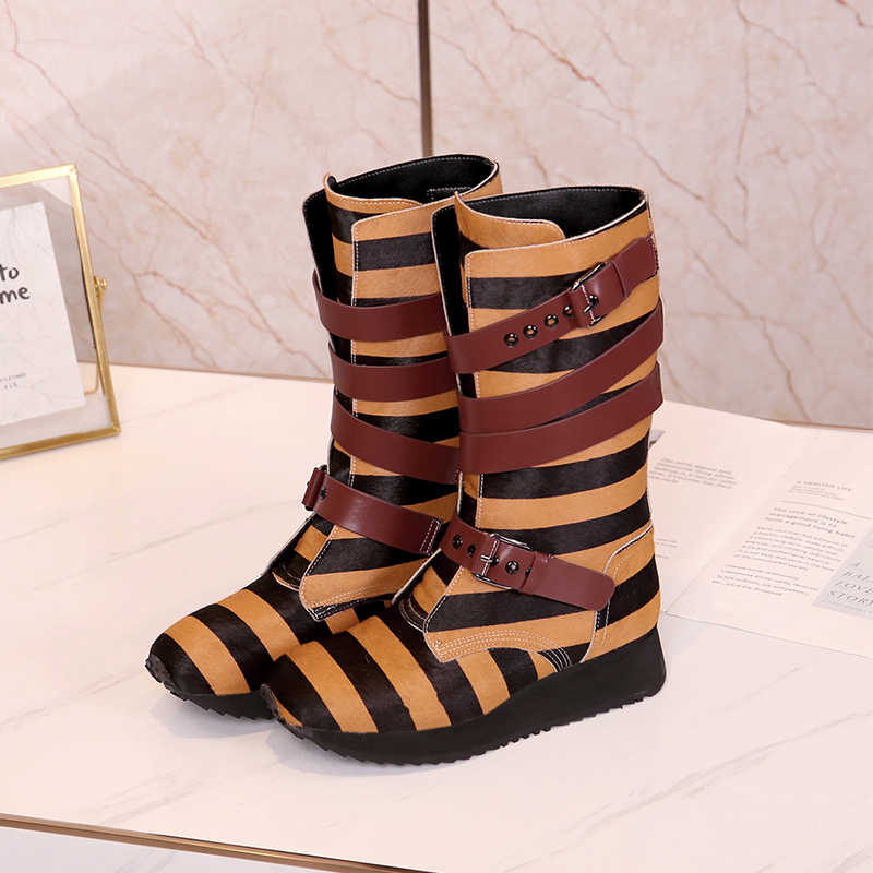 Kışlık botlar kadın at saç Botines Mujer şerit orta buzağı Bota Feminina moda kalın taban ayakkabı kadın toka Zapatos de Mujer