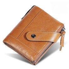 New Oil Wax Genuine Leather Men's wallet double zipper wallet men high quality short Purse for men Anti magnetic Male wallet
