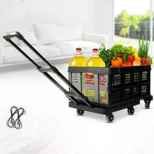 Van six-wheel folding flatbed truck portable trolley car moving  transport trailer with frame