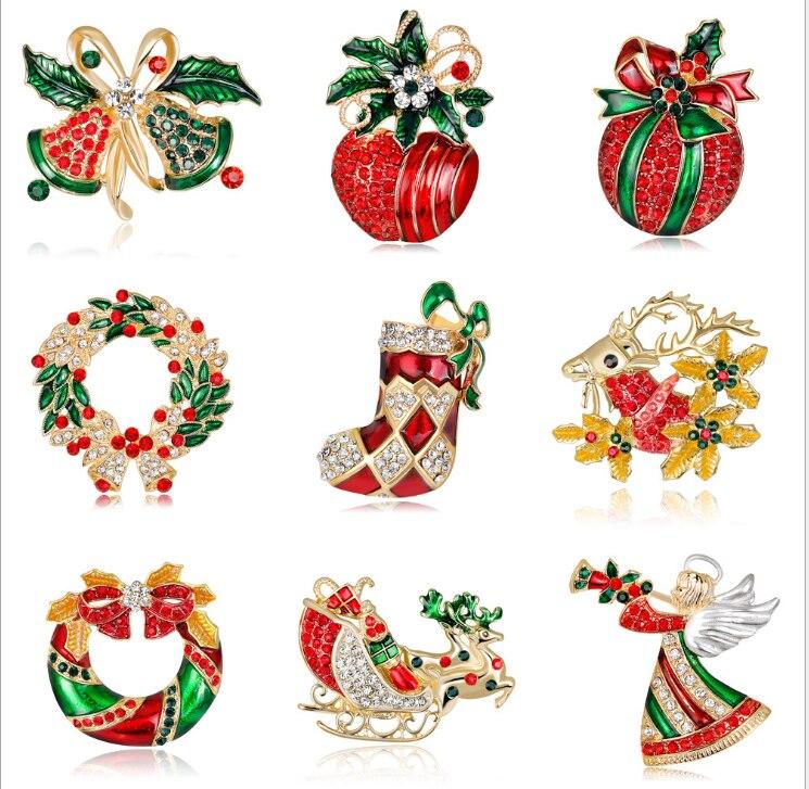 20 teile/los Freies Verschiffen frauen Frohe Weihnachten Weihnachten Santa Claus & Hirsch mit Strass Ornament Brosche Pin - 4