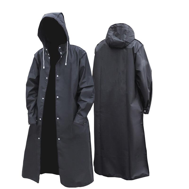 2020 new black fashion adult waterproof long men women raincoat hooded for big boy girl travel fishing climbing cycling