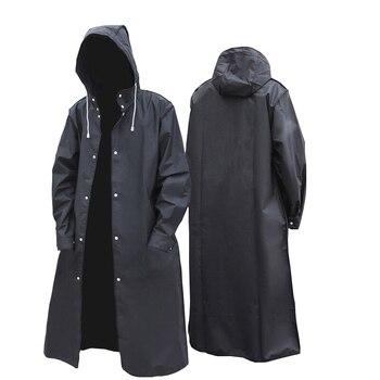 2020 new black fashion adult waterproof long men women raincoat hooded for big boy girl travel fishing climbing cycling - discount item  40% OFF Household Merchandises