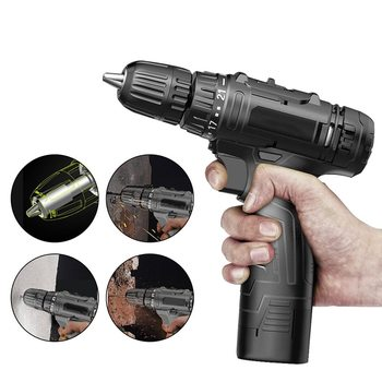 Multi-function Electric Screwdriver With 12V Lithium Battery Household Tool Electric Screw Hand Drill Power Tools xltown 88vf impact drill multi function electric screwdriver rechargeable lithium battery household hand drill cordless drill