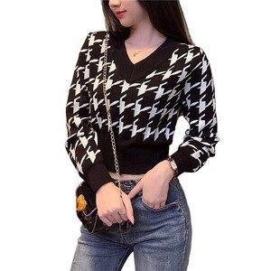 Женские Повседневные свитера 2020, трикотажная одежда с длинным рукавом, модный осенний пуловер из твида с глубоким V-образным вырезом, укороч...