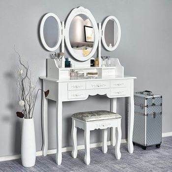 Dressing Table Stool Bedroom Furniture White Mirror Makeup Table in MDF with 7 Drawers and 3 Oval Rotatable Mirrors Stable Feet