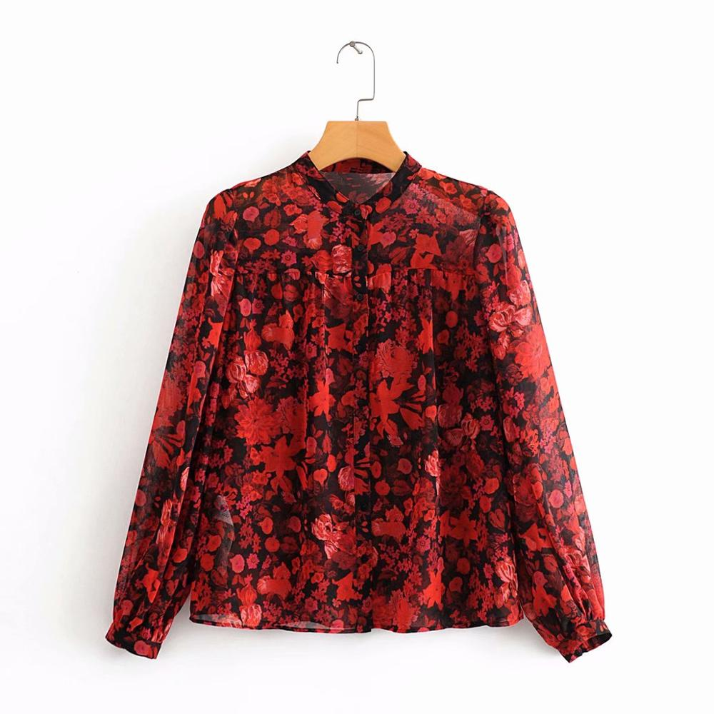 New Women Fashion Floral Printing Casual Smock Shirts Blouses Women Stand Collar Red Chiffon Roupas Femininas Pleats Tops LS6326